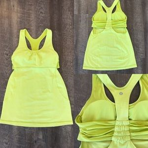 Lululemon Chartreuse Workout Top with Builtin Bra